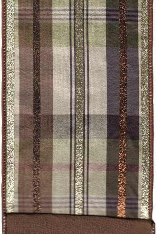 Faux Dupion Plaid With Glitter Stripe Brown Cream