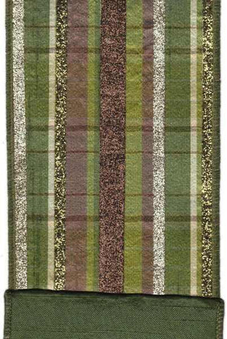 Faux Dupion Plaid With Glitter Stripe Green Brown