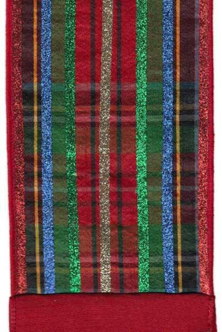 4 Inch X 5Yds Faux Dupion Traditional Plaid With Glitter Stripe Blue Red Green