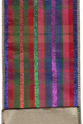 4 Inch X 5Yds Faux Dupion Plaid With Glitter Stripe Pink Red Blue