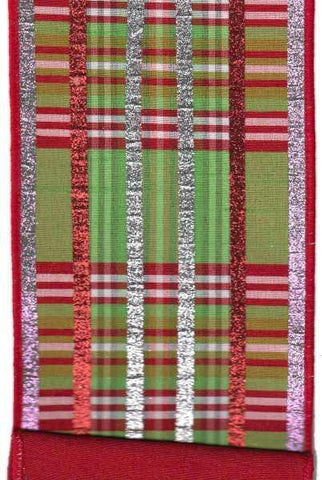 Faux Dupion Plaid With Glitter Stripe Red Dupion Back Green Pink Red