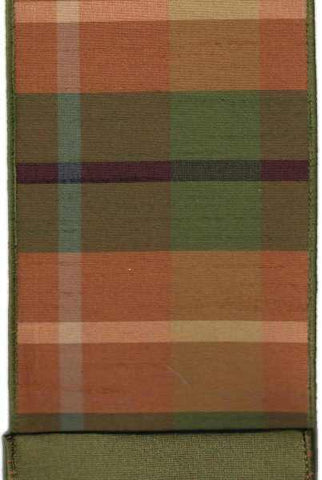 Faux Dupion Fall Plaid With Green Dupion Back Green Orange