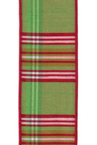 Faux Dupion North Pole Plaid Green Pink Red