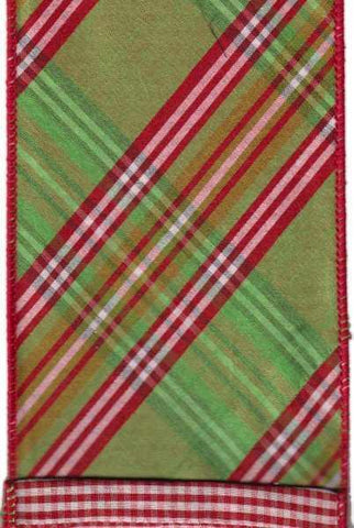 Faux Dupion North Pole Diagonal Plaid With Red Check Back Green Pink Red