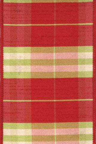 Faux Dupion Green Plaid With Red Fused Backing Red