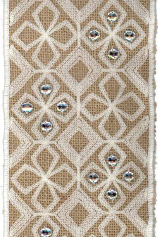 Burlap With Ivory Crewel Embroidery And Clear Stones, Natural