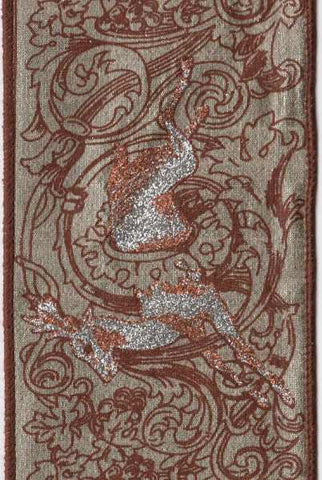 Toile Dupioni With Brown-Copper Running Deer, Celadon/ Platinum