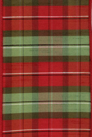 Faux Dupioni Plaid, Red Holiday Green