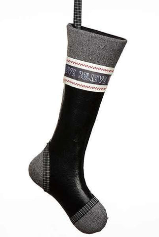 "Blackboard/Herringbone Christmas Wall Stocking  ""Believe"", Black/Red/Cream"