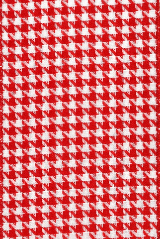 Faux Linen Houndstooth, Red White