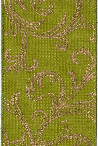 Basket Weave Faux Linen With Acanthus, Green,Gold