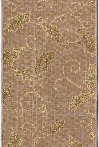 Faux Linen With Glitter Holly, Beige/Gold