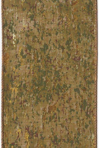 Faux Linen Camouflage, Green/Gold