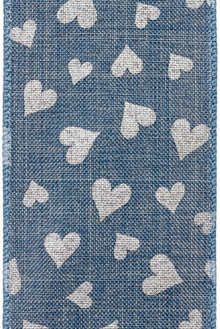 Linen Printed Hearts, Denim,Silver