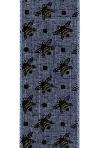 Linen With  Honey Bee, Blue
