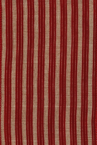 Linen Ticking Flocked Stripe, Beige/Red