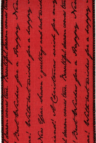 Linen Script Christmas Words, Red Black