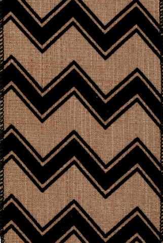 Linen Flocked Chevron, Beige,Black