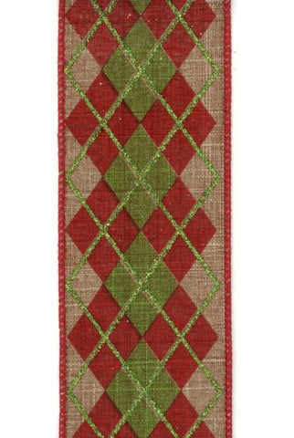 Linen Argyle Beige/Red Green /Green