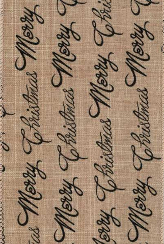 Linen Merry Christmas Writing, Brown,Black