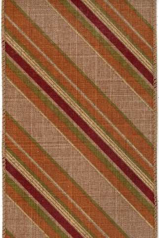 Linen Diagonal Stripes, Burgundy/Orange/Rust