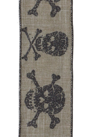 Linen Antique Glitter Skull ,Cross Bone, Grey