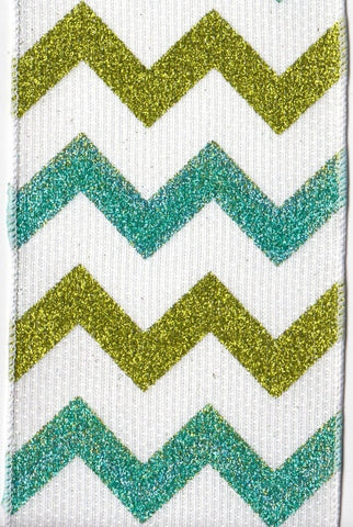 Hopsack, Two Color, Chevron, Teal,Green,White