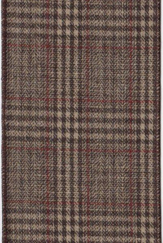 Glen Plaid Ribbon, Brown Burgundy
