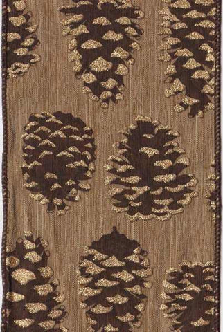 Faux Linen Large Pine Cone Gold Coffee