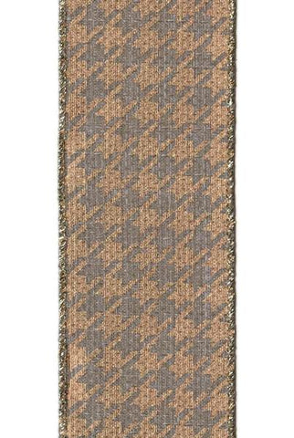 Hopsack Metallic Gold Houndstooth, Grey