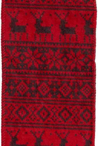Faux Sweater Black Snowflakes Deer, Red