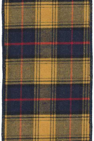 4 Inch X 10Yds Faux Wool Mcgregor Plaid Blue Yellow
