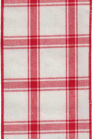 Faux Cotton Plaid Red Ivory