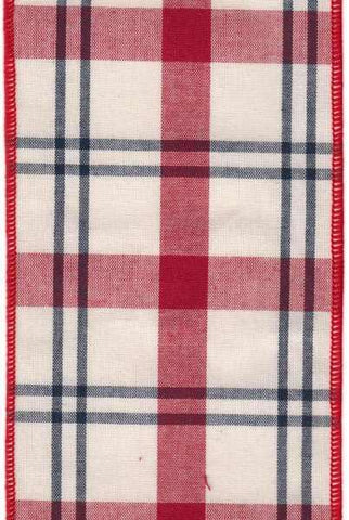 Faux Cotton Plaid Black Ivory Red