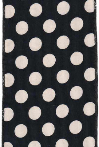 Corduroy Large Polka Dots Black White