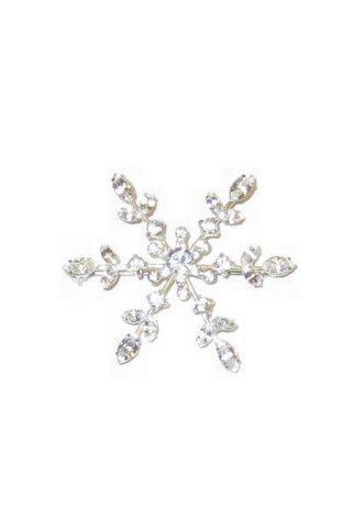 Glass Crystal Montana Snowflake Brooch, Clear,Silver...Designed By D.Stevens