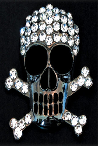 Glass Crystal Skull And Cross Bone Brooch, Clear/Black...Designed By D.Stevens