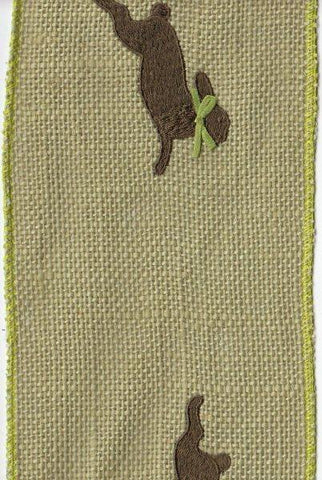 Brown Bunny On Burlap, Green...Designed By D.Stevens