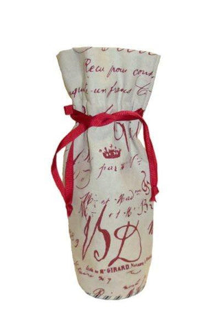 Canvas French Merchant Label Wine Bag, Red/Cream...Designed By D.Stevens