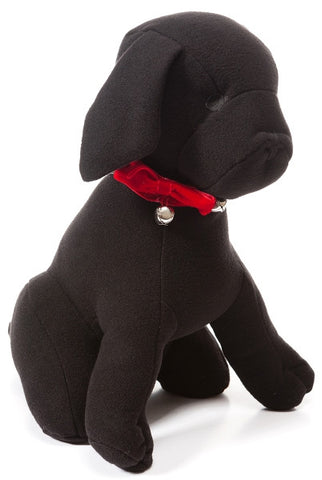 Black Dog With Red Bow And Bells...Designed By D.Stevens