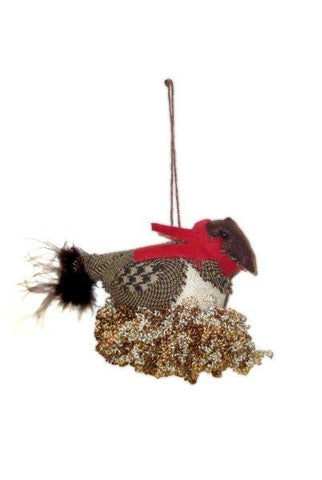 Soft Sculpt Birds With Nest Ornament, Natural,Red,Brown...Designed By D.Stevens