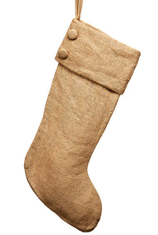 Burlap Christmas Stocking, Natural...Designed By D.Stevens
