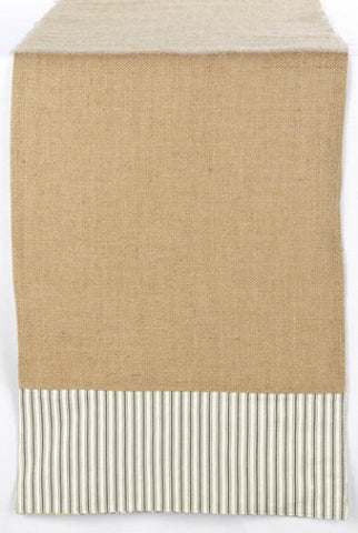 Burlap/Ticking Runner With  Toile Back Reversible, Natural...Designed By D.Stevens