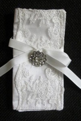 Bouquet Wrap, White Dupioni And Lace...Designed By D.Stevens