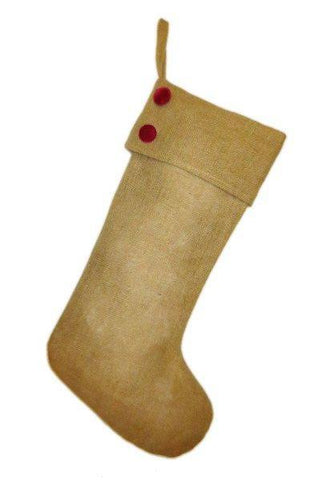 Burlap Christmas Stocking With Red Velvet Buttons Natural