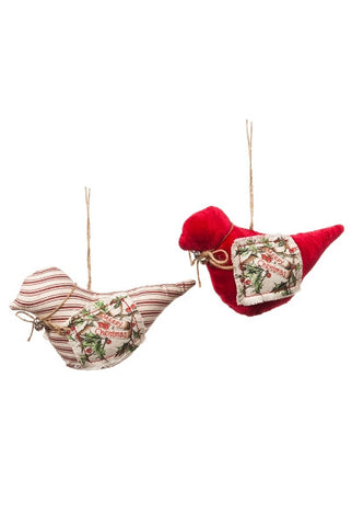 Bird Ornament, Red Velvet, Ticking, Jute Hanger 2 Asst'D...Designed By D.Stevens