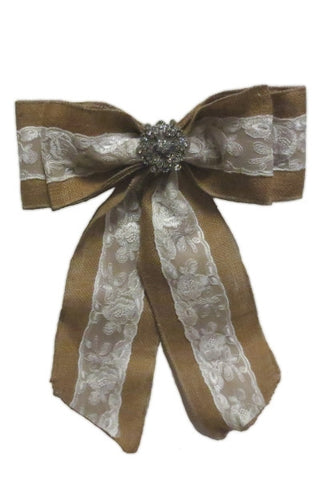 Bow, Burlap And  Lace With Jewel...Designed By D.Stevens