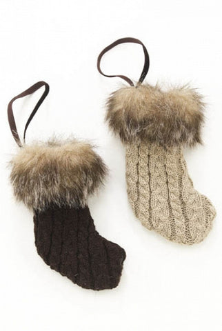 Cable Knit Mini Stocking Ornament, Taupe,Brown, Set Of 2...Designed By D.Stevens