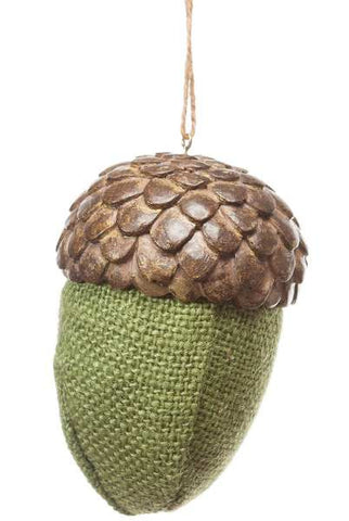 Burlap Acorn With  Resin Top, Green...Designed By D.Stevens
