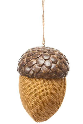 Burlap Acorn With  Resin Top, Mustard...Designed By D.Stevens